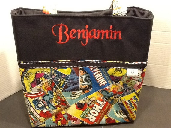 personalized tote bag with lots of pockets made of marvel. Black Bedroom Furniture Sets. Home Design Ideas