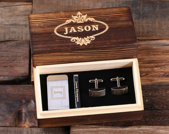 Set of 7 Personalized Gentleman's Gift Set Cuff Links, Money Clip, Tie Clip Groomsmen, Father's Day and Dad Men Boyfriend Christmas (025332)