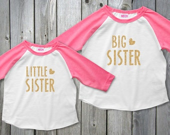 Big Sister Little Sister Outfits, Sisters Raglan Shirt, Big Sister Little Sister Sets, Colored Raglan Girls Shirt