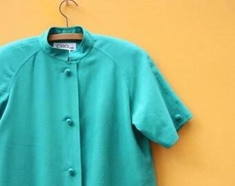 Vintage Green Coat Dress/Women's Size 6 Small Medium [Short Sleeve Suit Pockets Kelly Green Holiday Heavyweight Tunic] 39 inch waist
