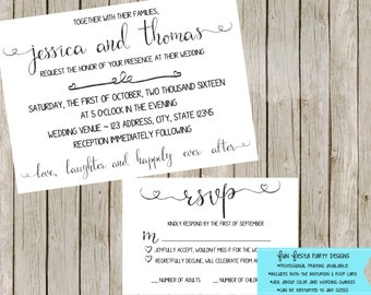 Wedding invitation and rsvp set - ANY color to match your wedding