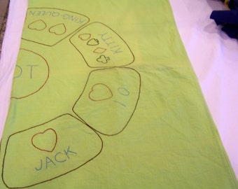Green bridge/poker tablecloth, hand-embroidered