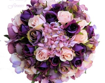 Hydrangea & Rose Bridal Bouquet - Purple, Mauve, Pink -  Keepsake Wedding Bouquet for Bride