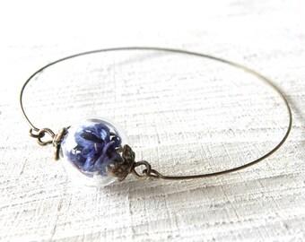 Real Dried Flower Bangle, Real Flower Bracelet, Bangle for Small Wrists, Plant Jewelry, Flower Petal, Nostalgic Bangle