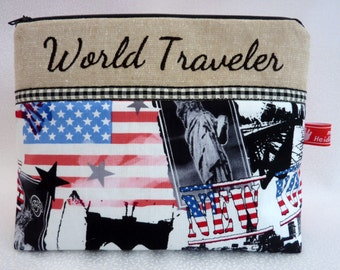 World Traveler on tour, New York, Cosmetic bag