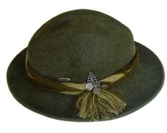 "Vintage Waltes Austria Zertifikat wool fedora green hat size 55 cm/21.7"""