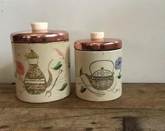 Vintage Tea Canister Ransburg Artist Tin Set