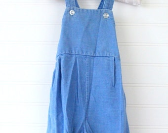 Vintage baby boy overalls. Blue corduroy overalls. Toddletime sz 6 mo