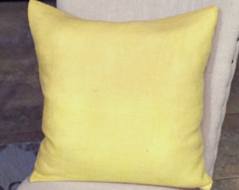 Yellow Burlap Envelope Style Pillow Cover