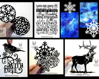 30+ Huge Christmas Winter Bundle of Commercial Use Paper Cutting Templates Beautiful Gothic-Inspired Designs Paper Cut Bundle Wolf Stag