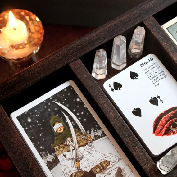 The Moon Phase Three Compartment Tarot Box by stoneandviolet