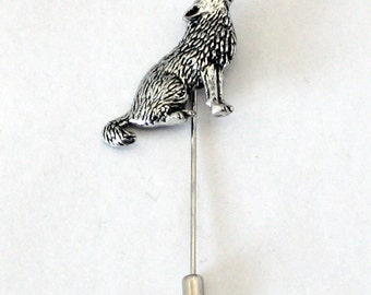 Wolf Lapel Stick Pin, Fine English Pewter, Handmade, cravat, tie (ab)