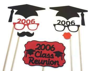 Class Reunion Photo Booth Props- Class Reunion Party - 7 Piece Set-Pick your Background Color