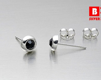 925 Sterling Silver Earrings, Round Earrings, Black Crystal Earrings, Stud Earrings (Code : E15D)