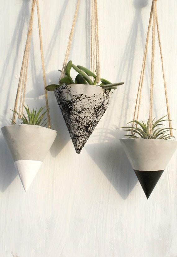 conjunto de jardinera de hormign colgante jardineras de hormign maceta colgante cono