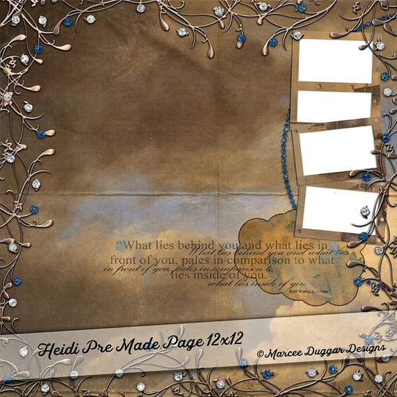 Template Photo Album Page | Digital Scrapbooking | Scrapbook | Add Photos | Sapphire | Cloud Backgrounds |