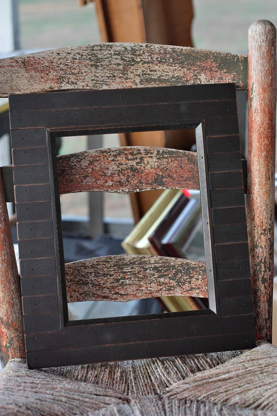 Black Wood BlockDistressed Picture Frame | Distressed | 8x10 | #0109
