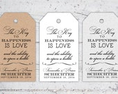 The Key To Happiness Wedding Favor Tags | 3 x 1.7 | Print-It-Yourself | Digital Download | Printable | Custom Reception Favor Tags