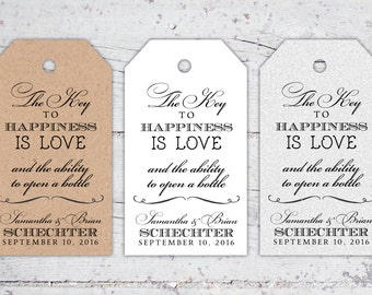 The Key To Happiness Wedding Favor Tags   3 x 1.7   Print-It-Yourself   Digital Download   Printable   Custom Reception Favor Tags