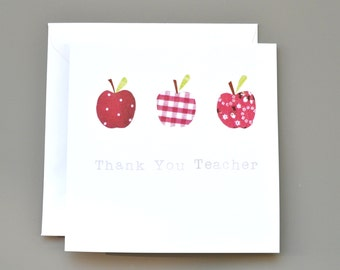 Teacher Thank You Card with Three Red Apples
