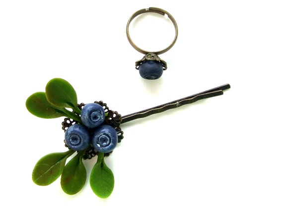 Accessories, jewelry, blueberry ring and blueberry bobby pin set, made of air dry clay