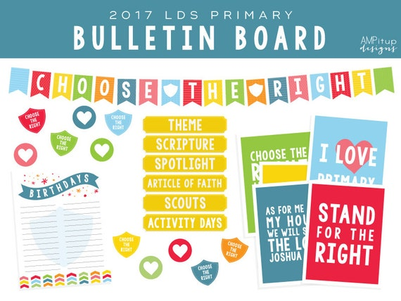 2017 Lds Primary Choose The Right Bulletin Board Decorations