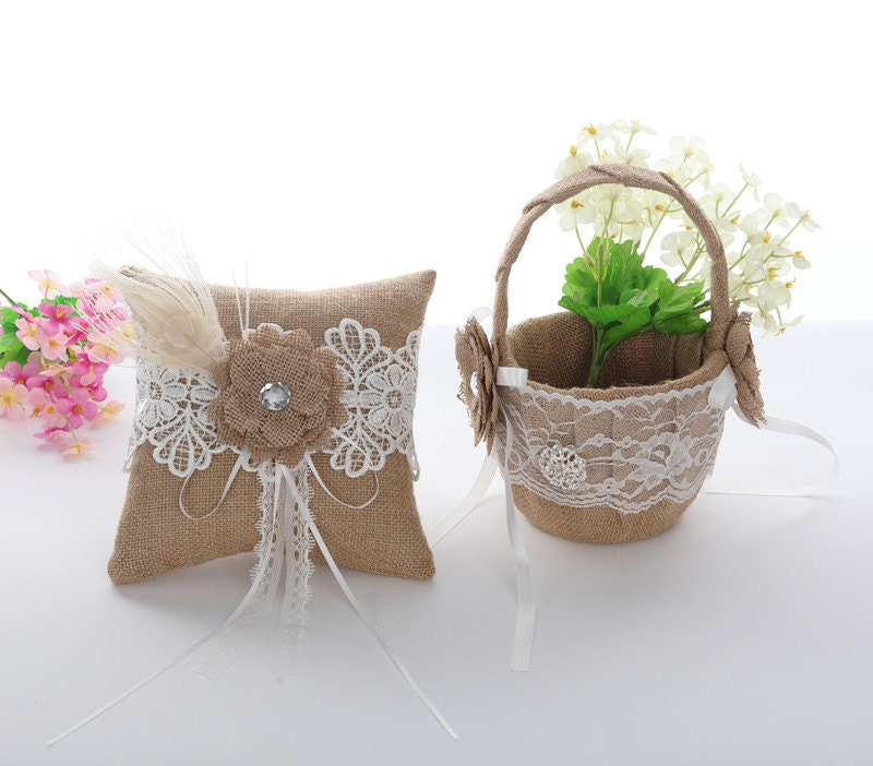 Flower Girl Baskets And Ring Pillows : Burlap ring pillow and flower girl basket bearer