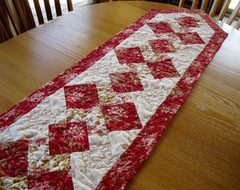 Red and Cream Hand Quilted Table Runner