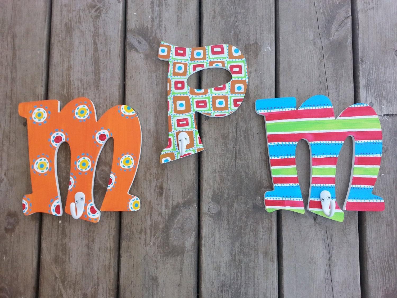 Hand painted letters bathroom towel hooks letter hooks zoom amipublicfo Choice Image