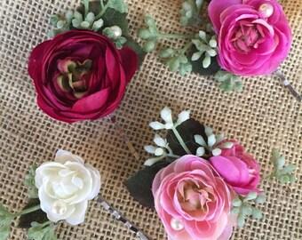 Wedding hair accessories, pink flower hair pins, pink bridal hair accessory, pink flower wedding hair pins, hair, pink flower hair clip