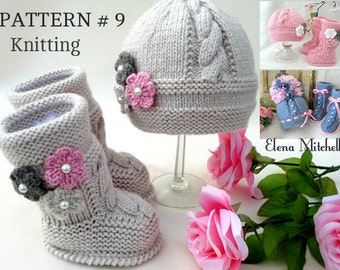 Knitting PATTERN Baby Set Knitted Baby Hat Baby Shoes Infant Newborn Baby Uggs Babies Baby Booties Baby Boy Baby Girl Pattern ( PDF file )