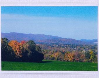 Berkshire hills, fall foliage, blank greeting card, Williamstown Massachusetts, fall birthday card, photo note card, scenic mountain view