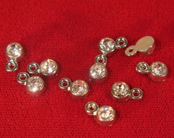 "BULK! 50pc 5mm ""clear diamond crystal"" color charms in antique silver style (BC1112B)"