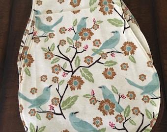 Spring birds burp cloth