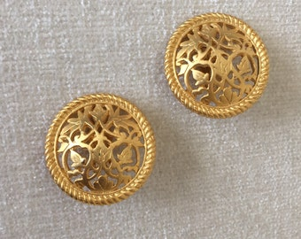 CLEARANCE SALE Gold filagree clip on earrings