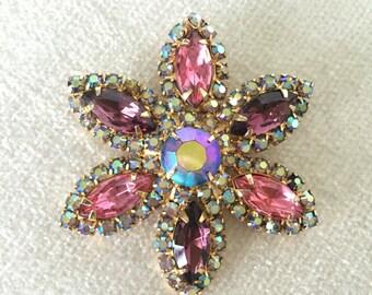 Amethsyt Pink saphire aurora borealis rhinestone flower brooch
