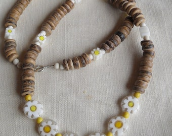Necklace, coconut shell, millefiori glass, beach jewelry, beaded necklace,glass beads, shell necklace