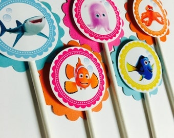 finding dory cupcake toppers, finding dory toppers, 12 per order