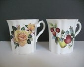 Royal Grafton Mug, Fine Bone China Mugs, Set of Two, Vintage English China, Coffee Cup, Floral Mug