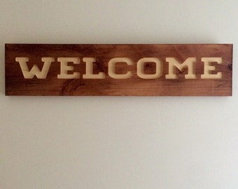 Welcome Carved Wood Custom Sign