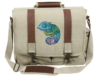 Karma Chameleon Embroidered Canvas with Leather Accents Premium Laptop Bag