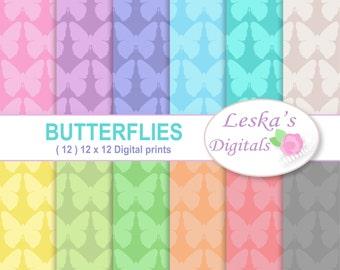 Butterfly digital papers, Pastel butterflies background, 12 x 12 pastel digital paper in butterfly pattern, butterfly paper for scrapbooking