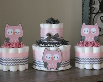 SET OF 3 Pink and Gray Owl Mini Diaper Cakes, Girls Owl Baby Shower, Pink, Gray, Grey Owl Centerpiece, Decor, Pink Gray Owl Chevron Shower
