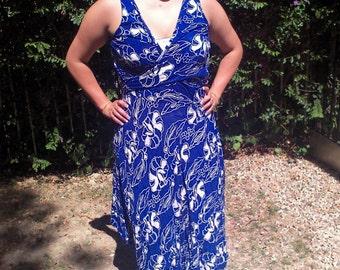 Batik, blue cotton dress, wrap dress,XL