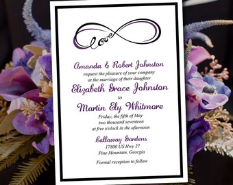 "Wedding Invitation Template Download - Invitation Printable - ""Infinite Love"" Printable Wedding Invitation - Black Eggplant Purple Infinity"