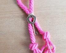 Heart Key Fuchsia Lucky Charm 2016 / Zamak Metal Heart Key / Fuchsia Cotton Cord / Pink Christmas / Home Accessory / Handmade Lucky Charm