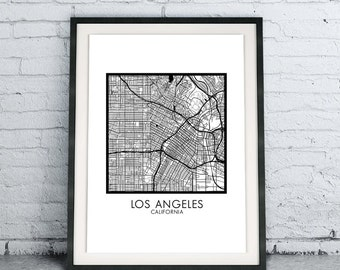 Los Angeles CA Printable City Map Download DIY, Modern Minimalist Scandinavian Design, City Map Chic Living Room Decor, B&W California