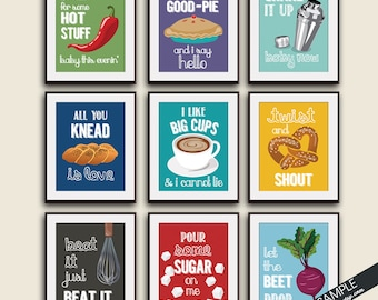 Funny Kitchen Song Series - Set of 9 Art Prints (Featured in Colors Assorted Colors) Kitchen Art