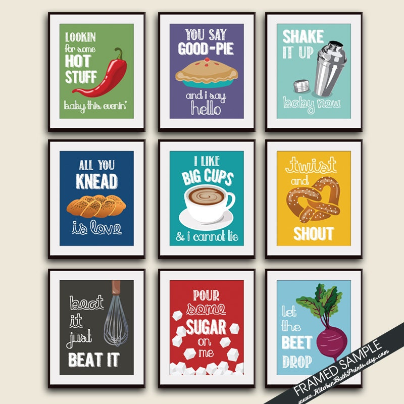 Funny kitchen song series set of 9 art prints featured in for Funny kitchen set