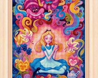cross stitch pattern, cross stitch, Afternoon Tea - Alice in Wonderland - cross stitch pattern - PDF pattern - instant download!